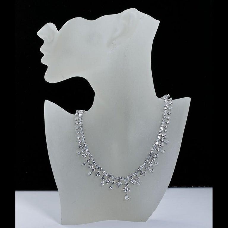 Fancy Shapes 50 Carat Diamond Platinum Necklace 3