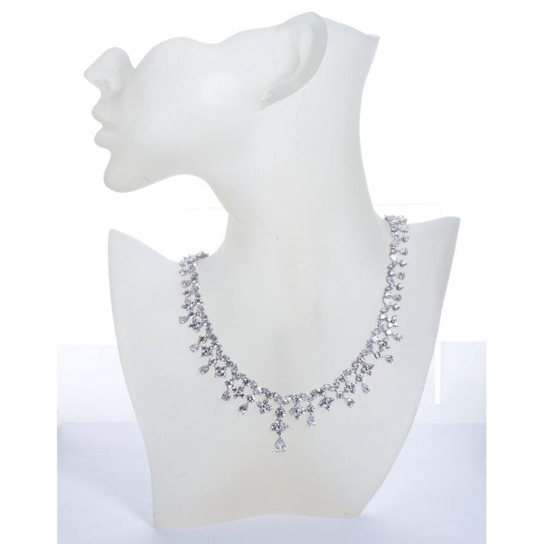 Fancy Shapes 50 Carat Diamond Platinum Necklace 4