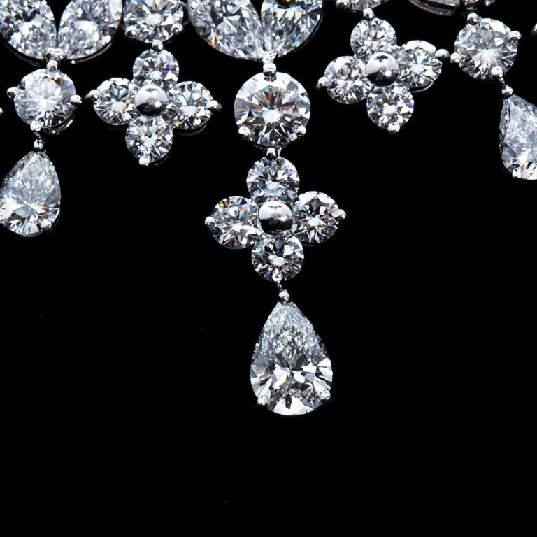 Fancy Shapes 50 Carat Diamond Platinum Necklace 5