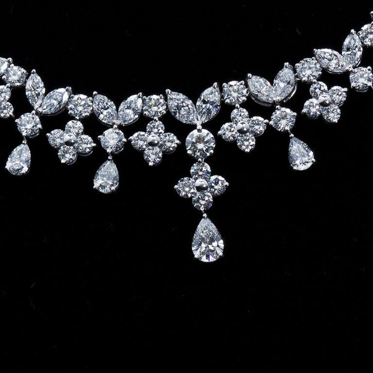 Fancy Shapes 50 Carat Diamond Platinum Necklace 6