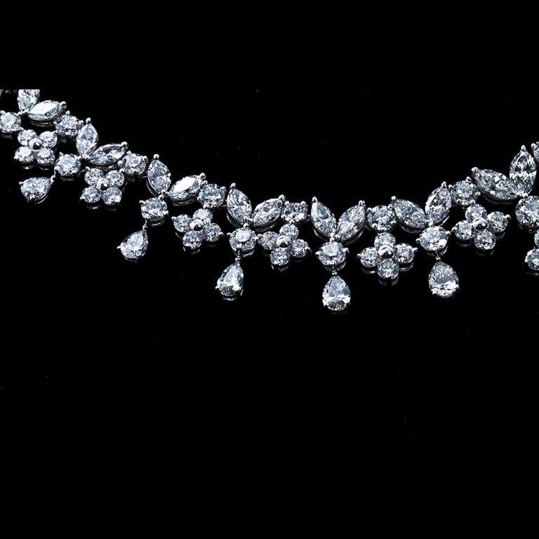 Fancy Shapes 50 Carat Diamond Platinum Necklace 7