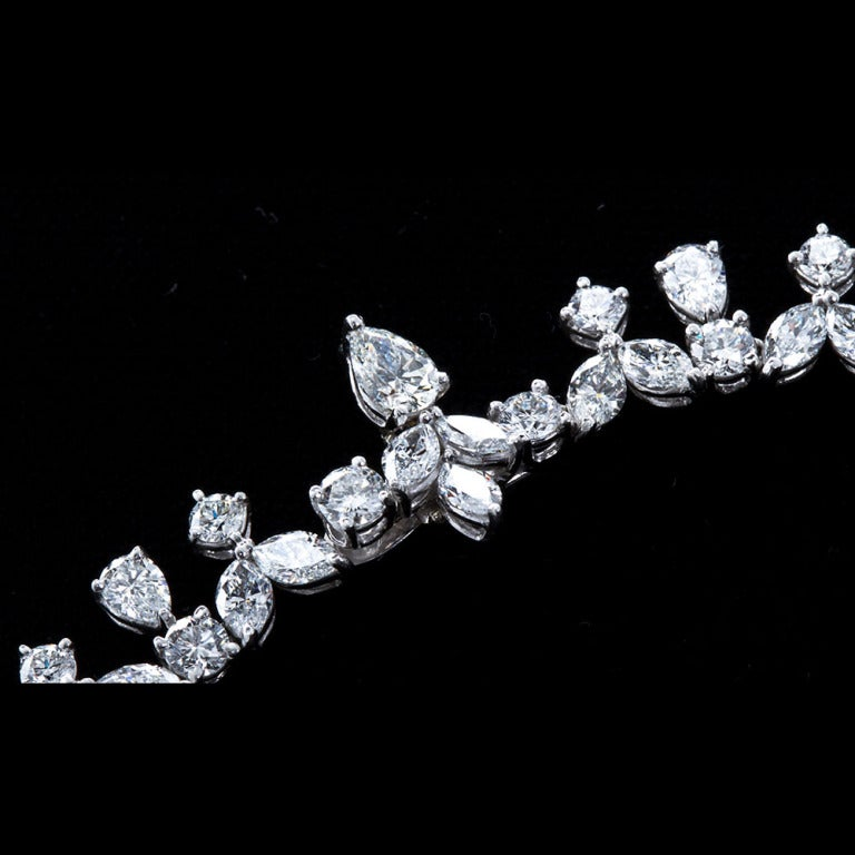 Fancy Shapes 50 Carat Diamond Platinum Necklace 8