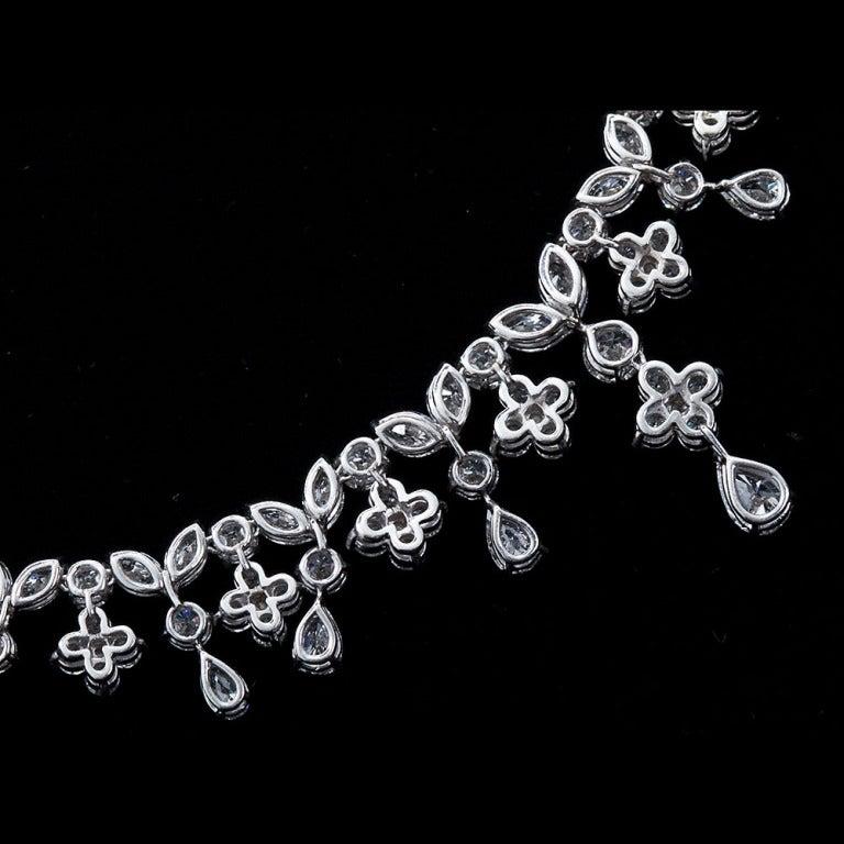 Fancy Shapes 50 Carat Diamond Platinum Necklace 9