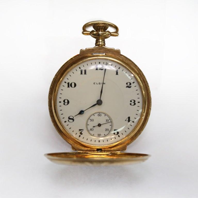Elgin Multicolor Gold Diamond Hunter Case Pocket Watch 8