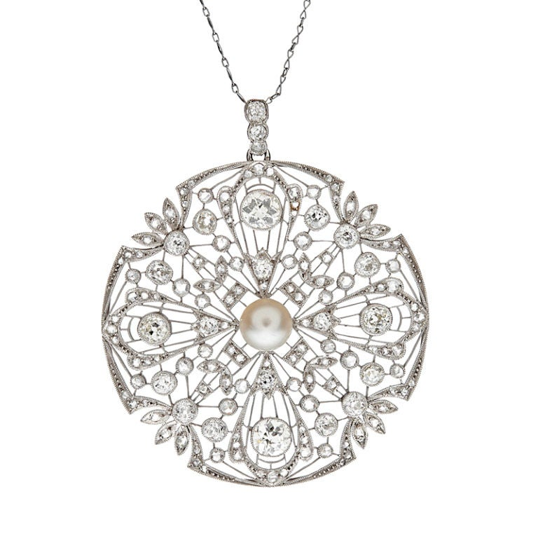 Art deco diamond and pearl filigree platinum large pendant at 1stdibs art deco diamond pearl filigree platinum large pendant for sale aloadofball Choice Image