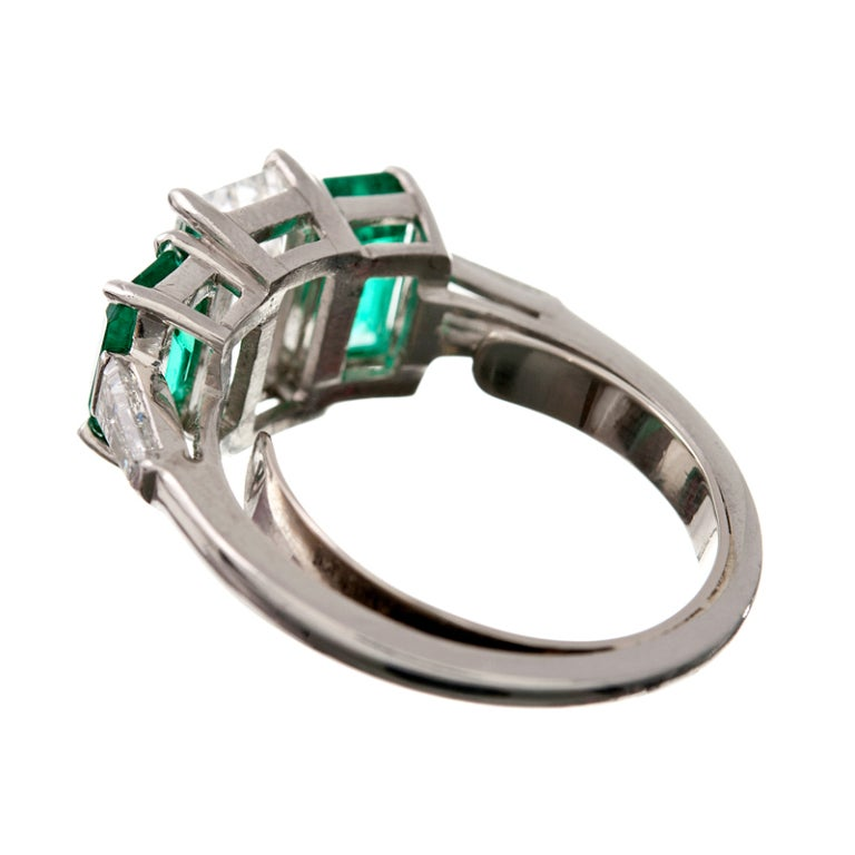 emerald cut columbian emerald platinum ring at 1stdibs