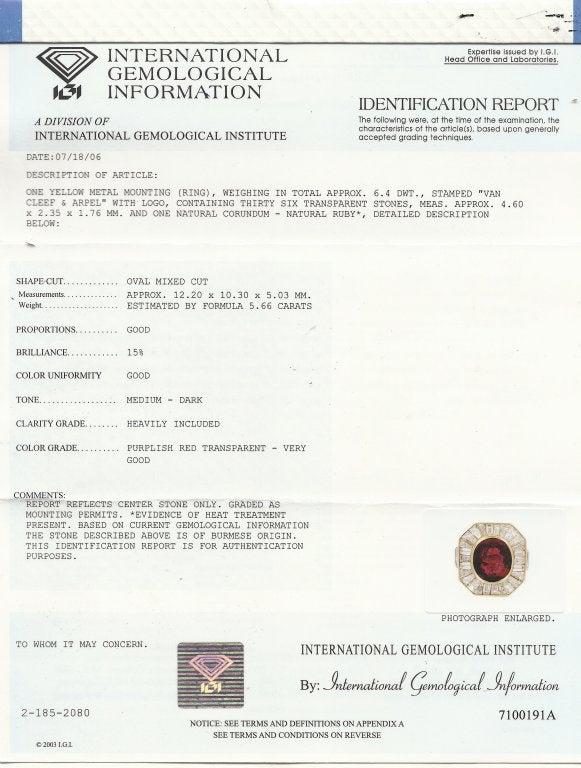 VAN CLEEF & ARPELS 5.66-ct Burmese Ruby Diamond Gold Ring For Sale 6