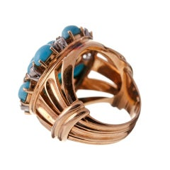 Turquoise Diamond and 18k Yellow Gold 1950s Cluster Ring thumbnail 3