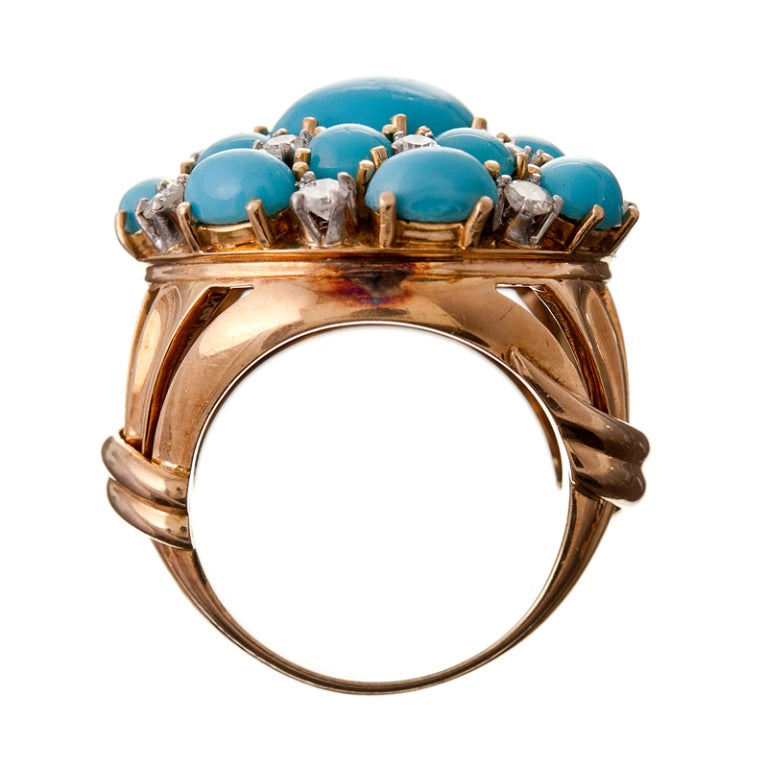 Turquoise Diamond and 18k Yellow Gold 1950s Cluster Ring For Sale 1
