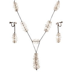 Russian Rock Crystal & Sterling Necklace & Earring Set