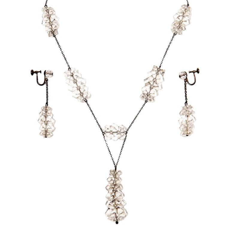 Russian Rock Crystal & Sterling Necklace & Earring Set For Sale