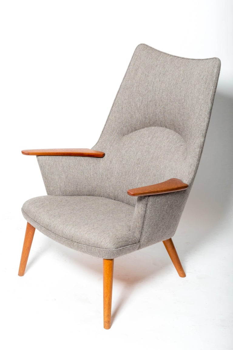 """""""AP-27"""" lounge chair, by Hans J. Wegner, Denmark, 1960s They are in a heathered grey wool upholstery. 2 are available."""