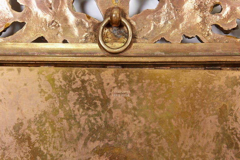 Large French Gilt Bronze Ormolu and Pink Guilloche Enamel Picture Photo Frame For Sale 4