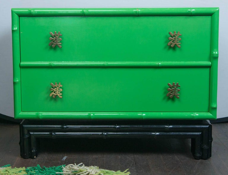 Pair of Asian/Chinoiserie Ficks Reed Faux Bamboo Chests For Sale 3