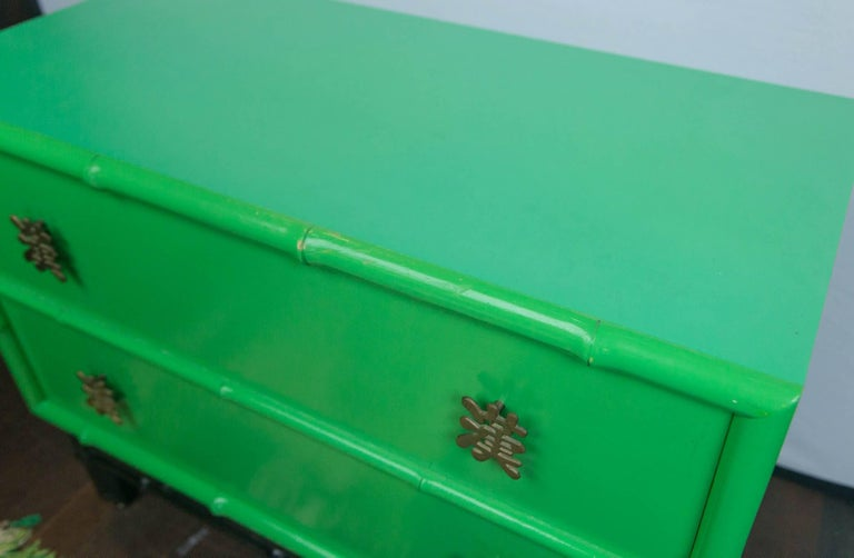 Pair of Asian/Chinoiserie Ficks Reed Faux Bamboo Chests For Sale 4
