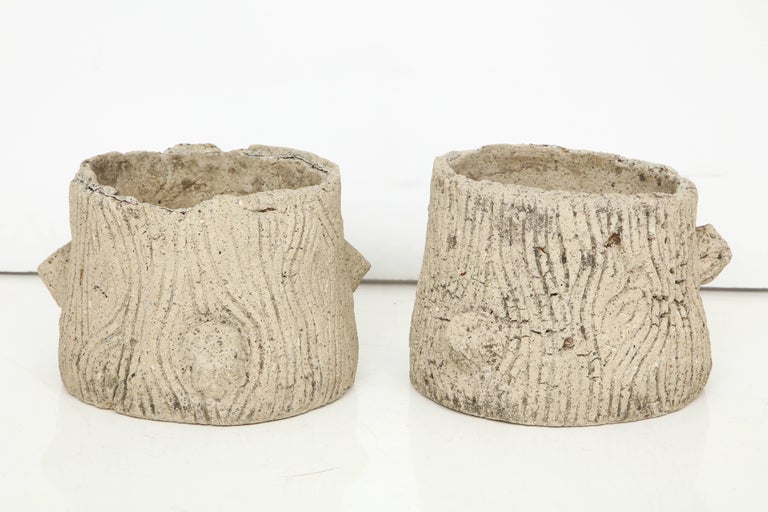 Pair of French faux bois concrete planters, circa 1920.