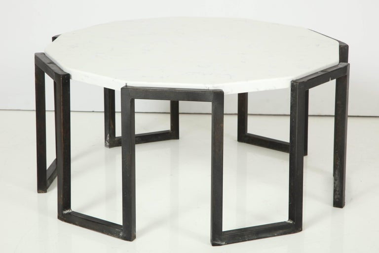 Mid-Century Modern Pair of Wrought Iron and Travertine Marble Tables For Sale