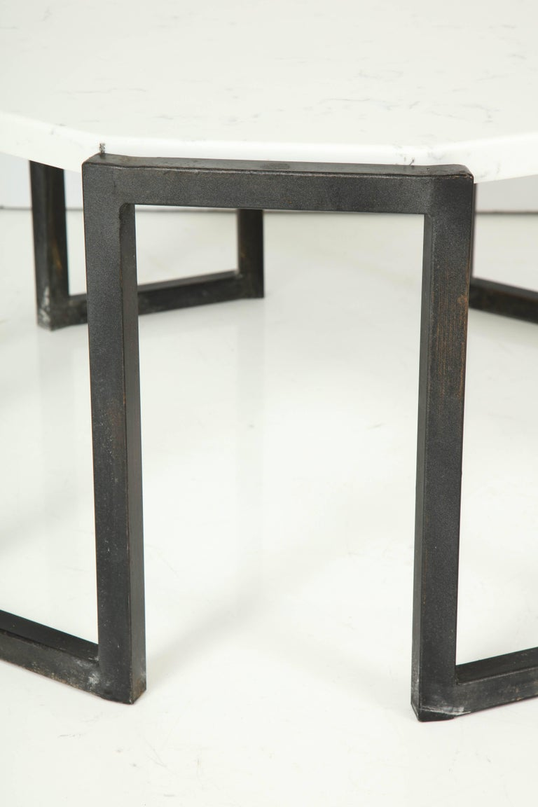 French Pair of Wrought Iron and Travertine Marble Tables For Sale