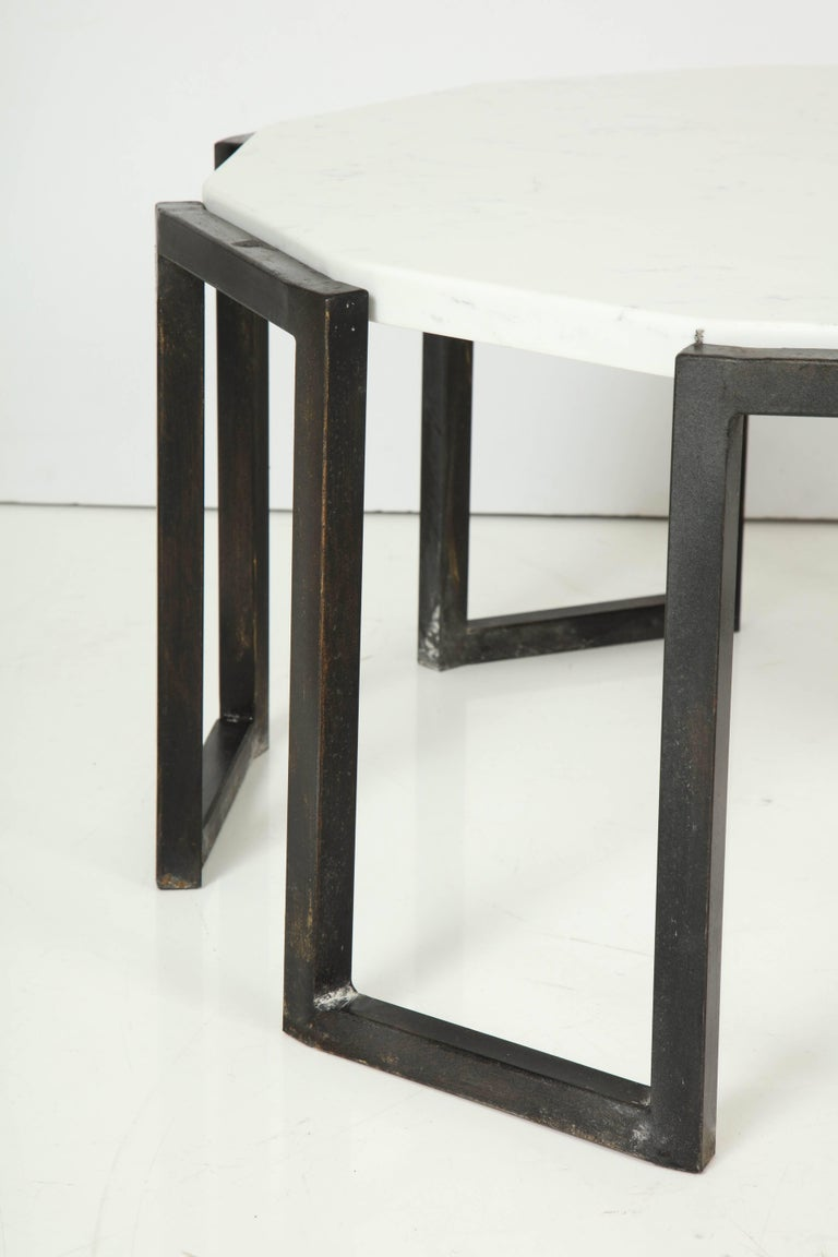 Patinated Pair of Wrought Iron and Travertine Marble Tables For Sale