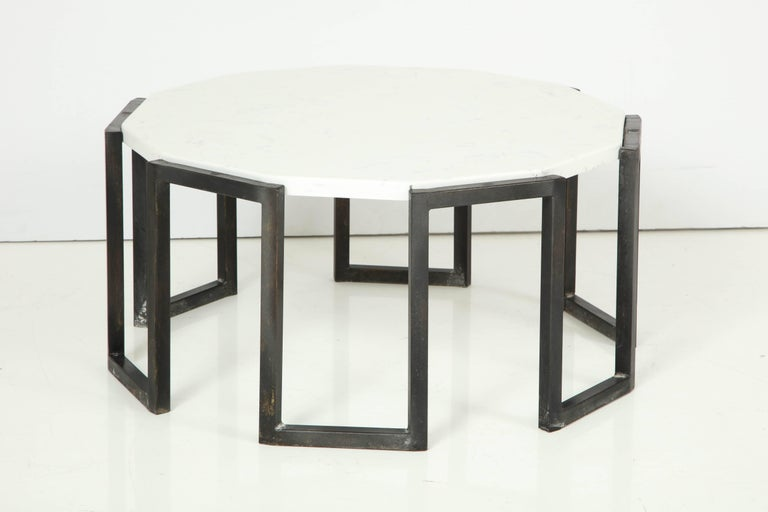 Pair of Wrought Iron and Travertine Marble Tables In Good Condition For Sale In New York, NY