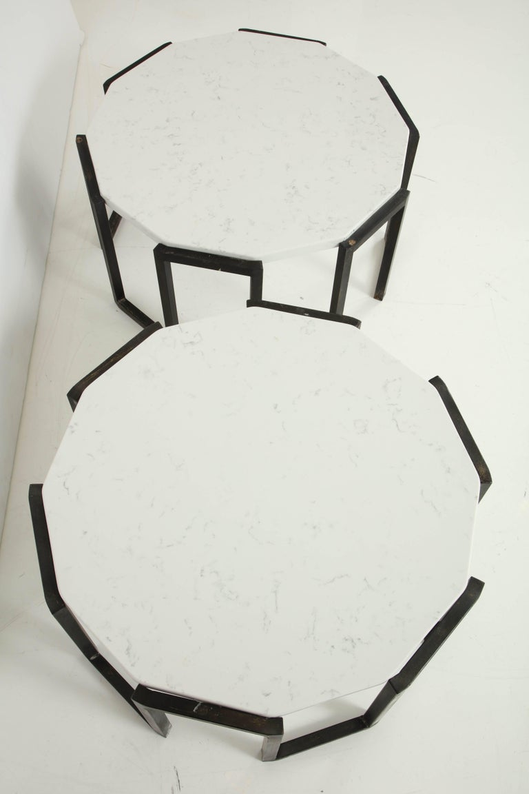 Pair of Wrought Iron and Travertine Marble Tables For Sale 2