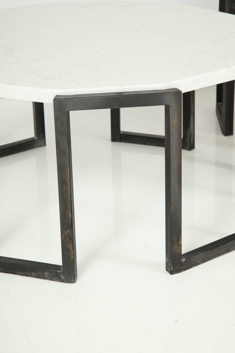 Pair of Wrought Iron and Travertine Marble Tables For Sale 3