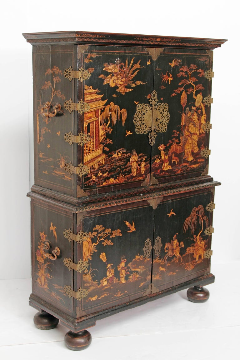 English Queen Anne Collectors Cabinet / Japanned For Sale