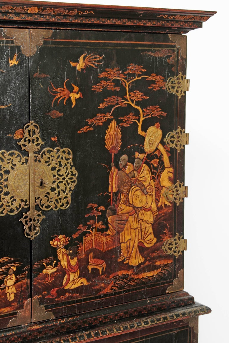 18th Century Queen Anne Collectors Cabinet / Japanned For Sale