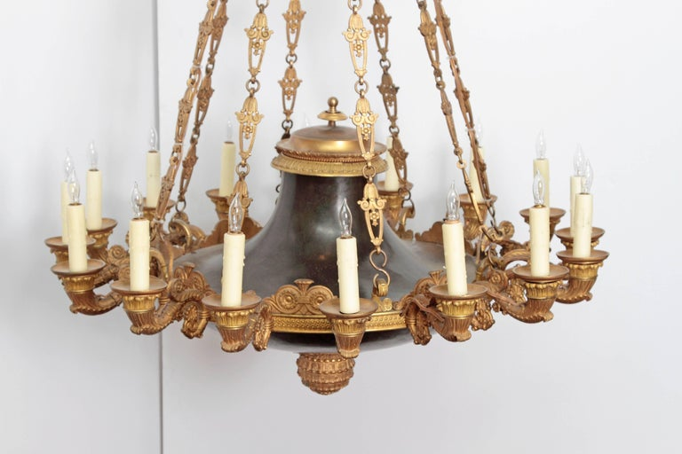 French Empire Patinated and Gilt Bronze Argon Chandelier / 16 Lights For Sale 3