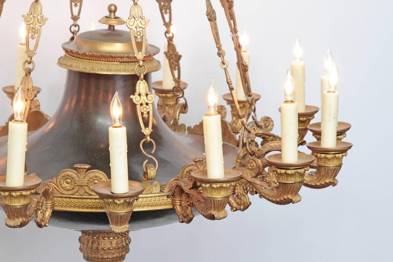 French Empire Patinated and Gilt Bronze Argon Chandelier / 16 Lights For Sale 8
