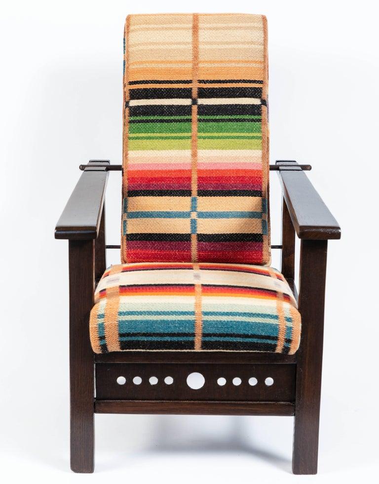 Textile Antique Oak Child's Morris Style Chair For Sale