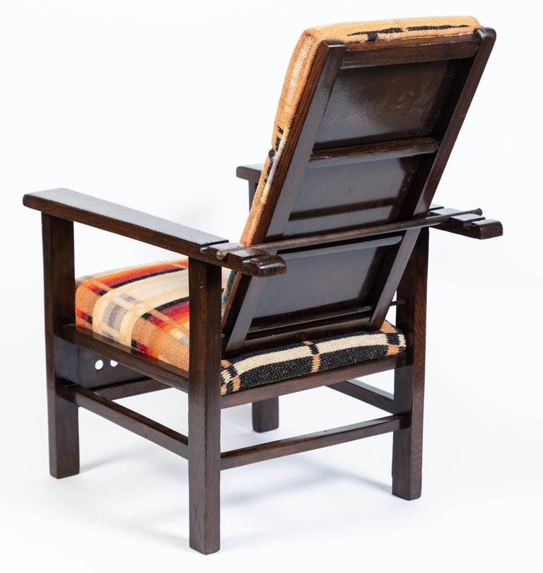 Antique Oak Child's Morris Style Chair For Sale 2
