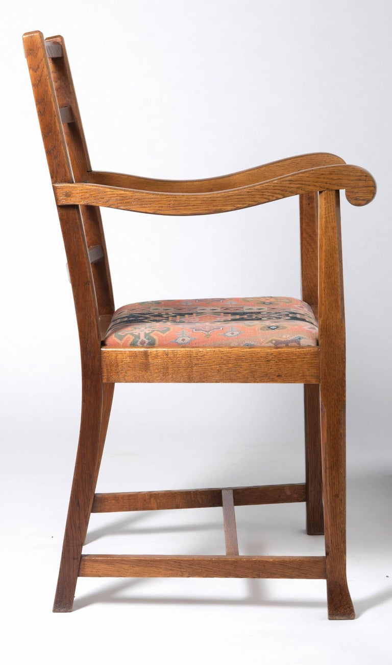 Arts and Crafts Early 20th Century Arts & Crafts Oak Framed Elbow Chair For Sale