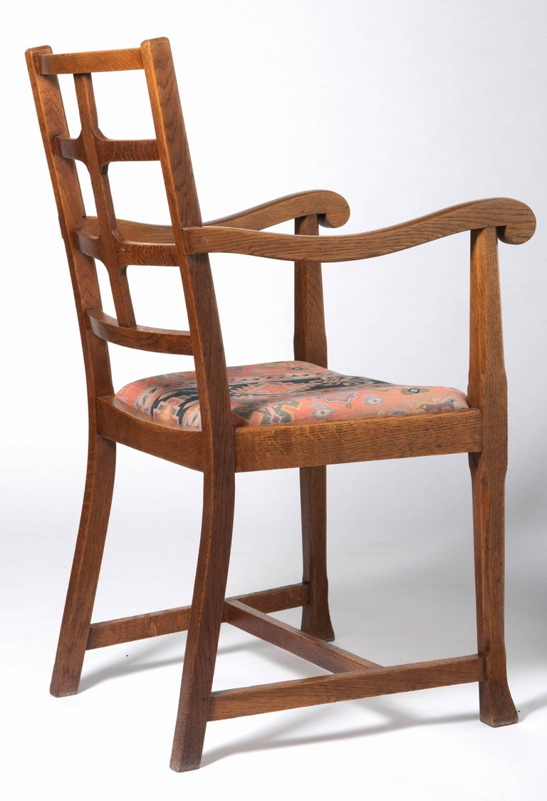British Early 20th Century Arts & Crafts Oak Framed Elbow Chair For Sale