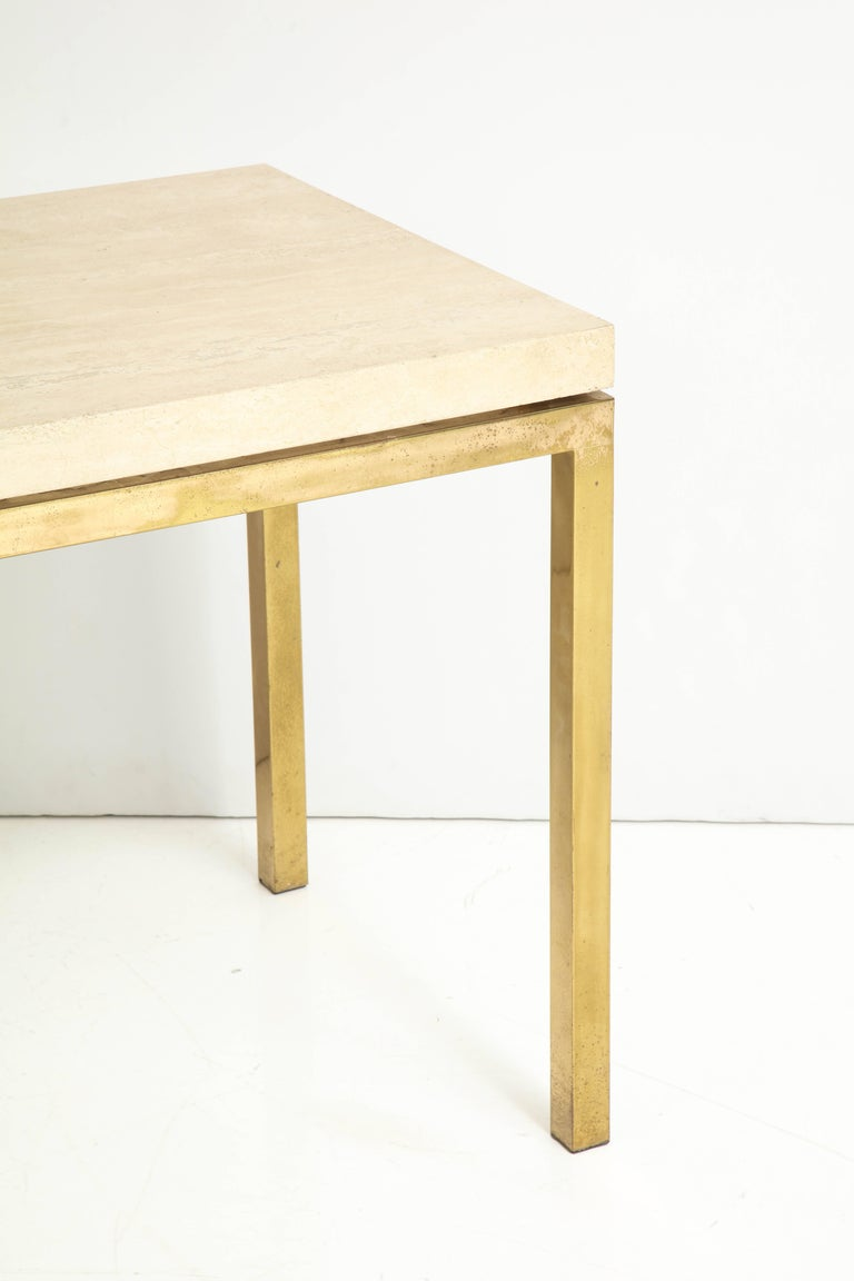 20th Century Travertine and Brass Table by Jansen For Sale