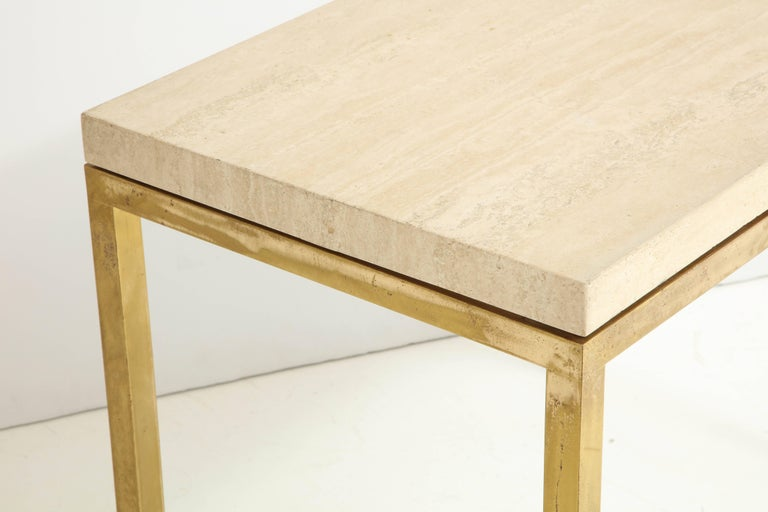 Travertine and Brass Table by Jansen For Sale 1