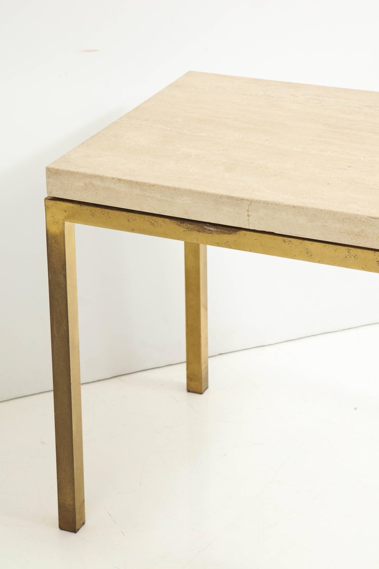 Travertine and Brass Table by Jansen For Sale 4