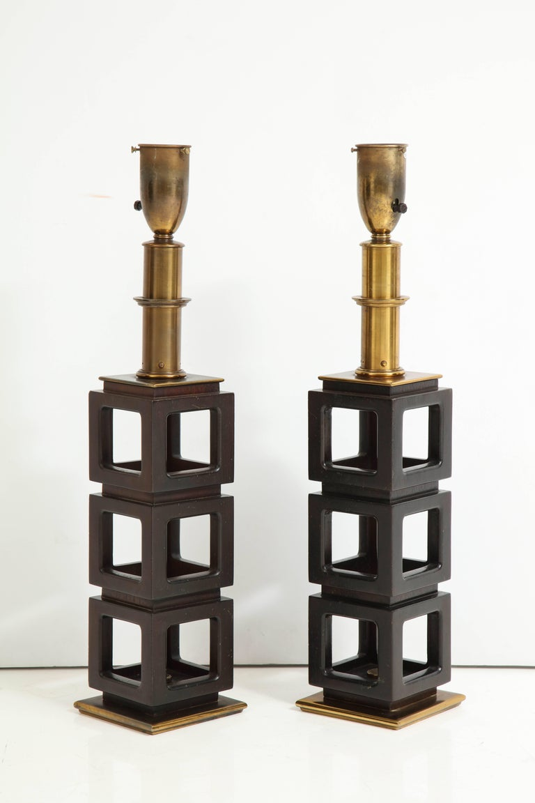 North American Pair of Stacked Cubes Lamps by Steiffel For Sale