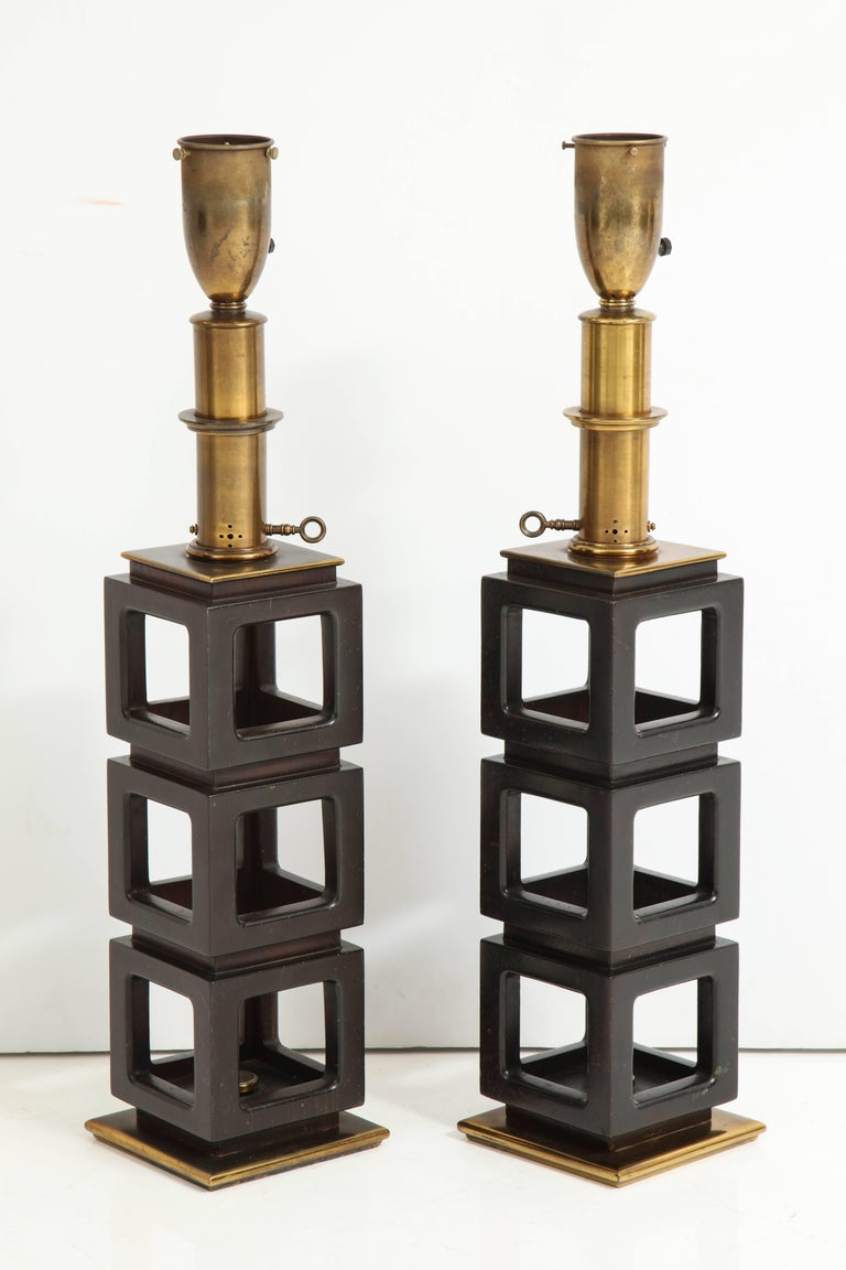Carved Pair of Stacked Cubes Lamps by Steiffel For Sale