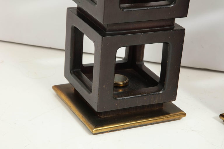Mahogany Pair of Stacked Cubes Lamps by Steiffel For Sale