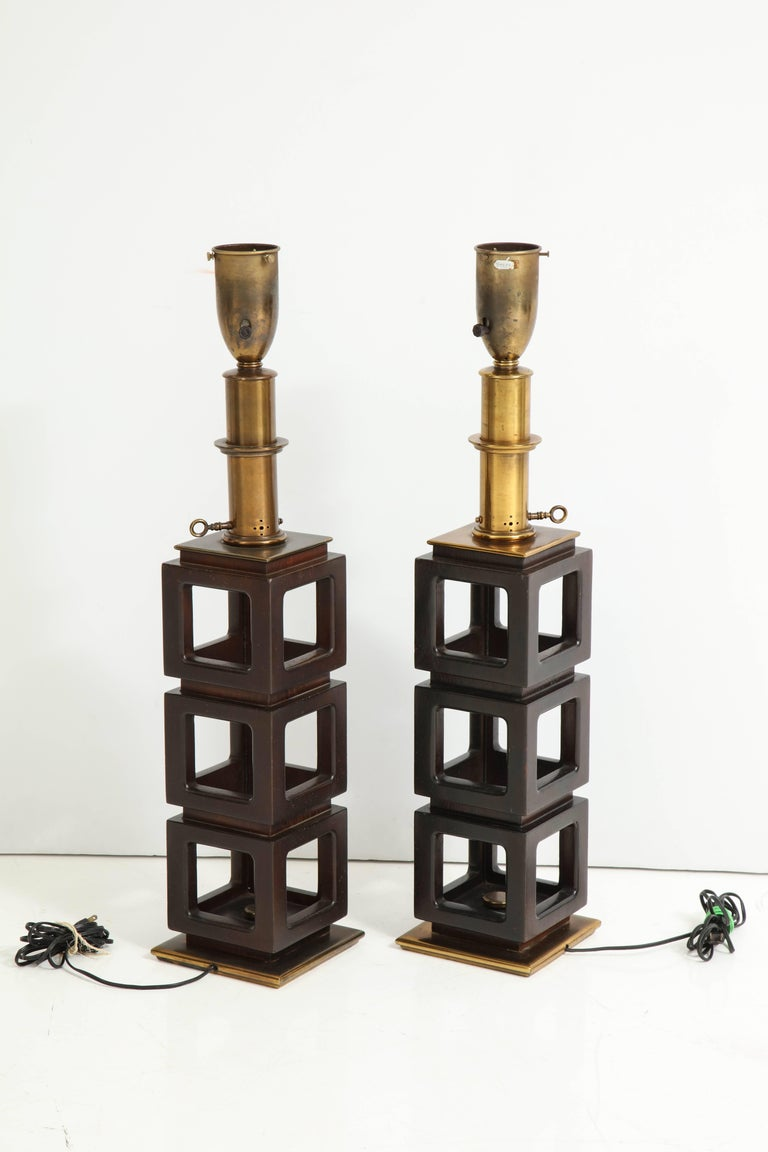 Pair of Stacked Cubes Lamps by Steiffel For Sale 1