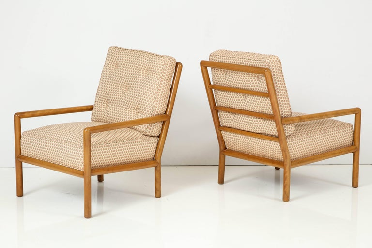 Pair of T.H. Robsjohn-Gibbings lounge chairs made by Widdicomb, circa 1955-1956.