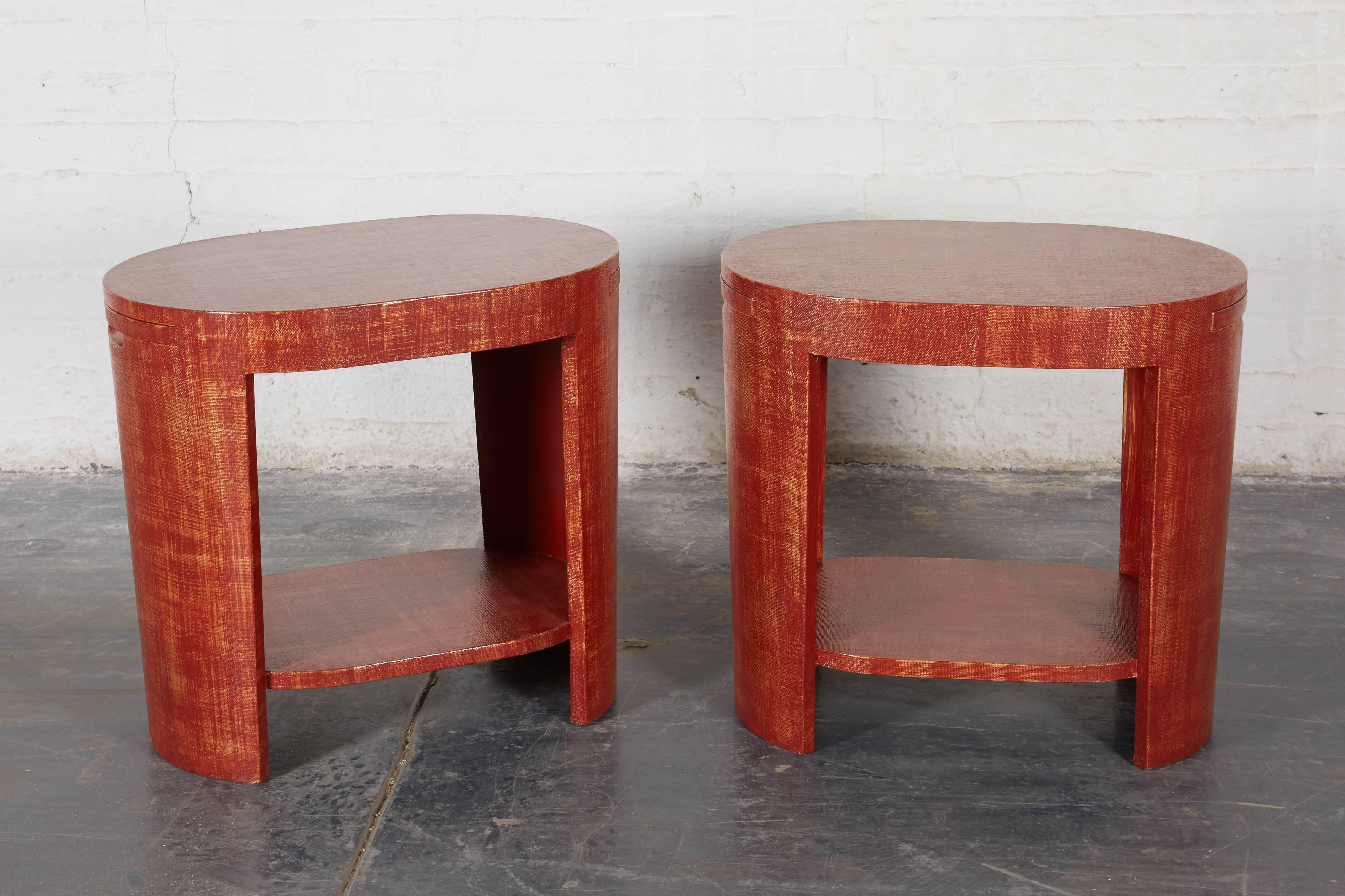 Brick Red LinenWrapped Oval End Tables For Sale at 1stdibs