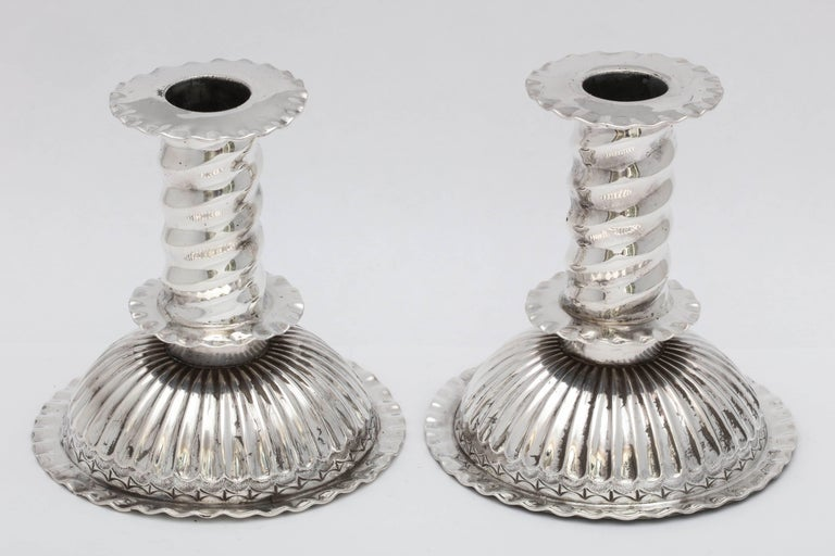 English Victorian Pair of Sterling Capstan Candlesticks in the 16th Century Style For Sale
