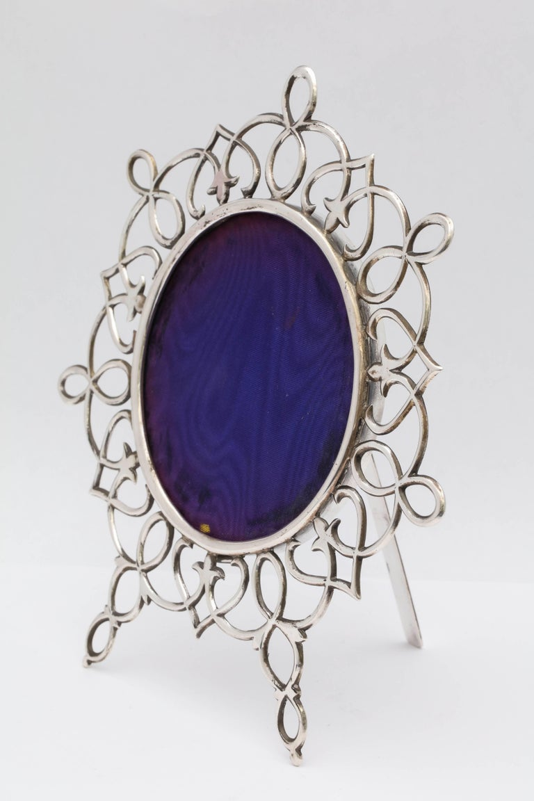 Rare, unusual, beautiful, large, all sterling silver wire, footed picture frame, London, 1901, John Tiley - maker. Measures 8 inches high at highest point x 9 inches wide at widest point x 6 inches deep when all sterling silver easel is in open