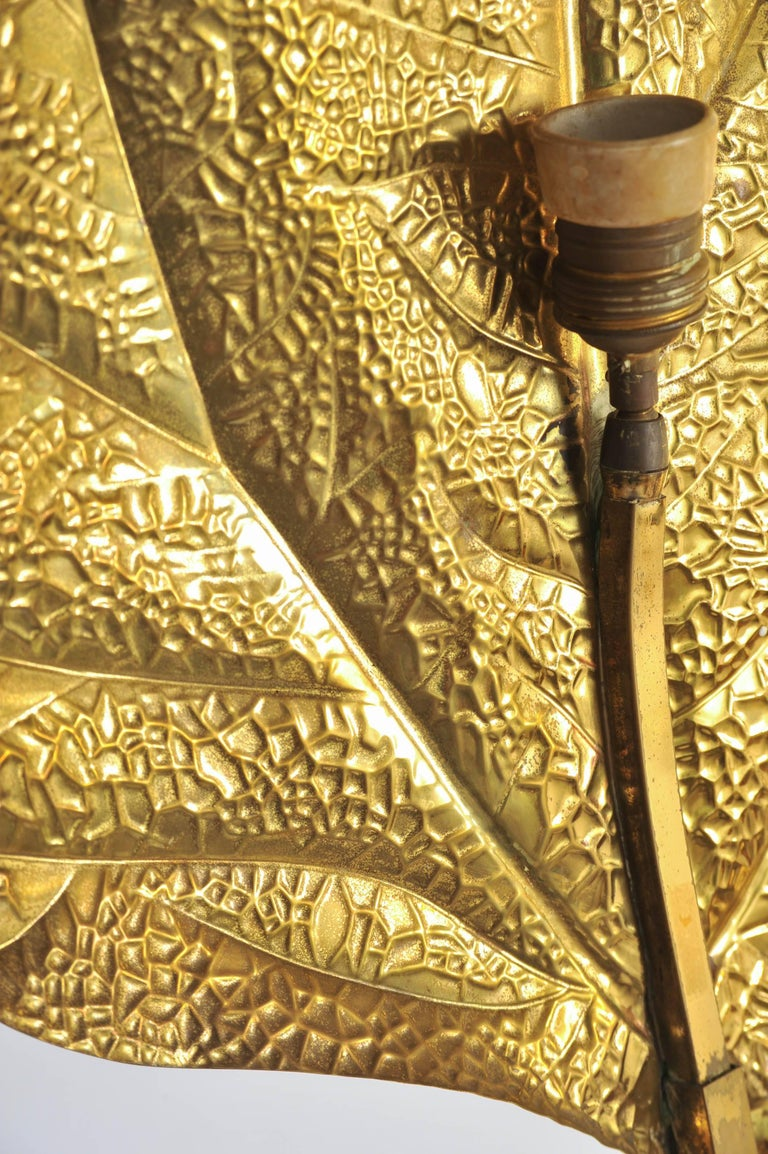 Hammered Italian 1960s Tommaso Barbi Brass Floor Lamp For Sale