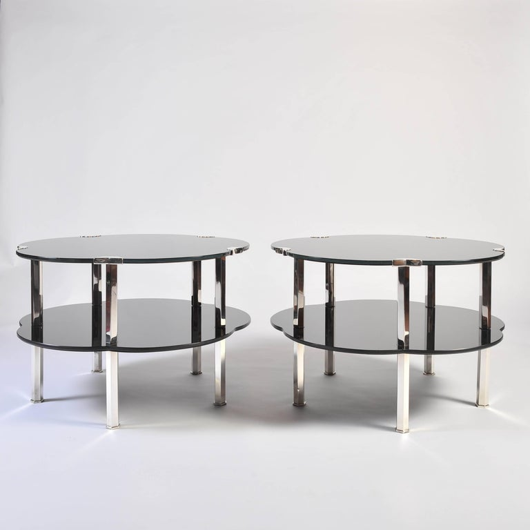 Black Coffee Table Sheffield: Pair Of Black Glass And Silver 1930s French Japonaise