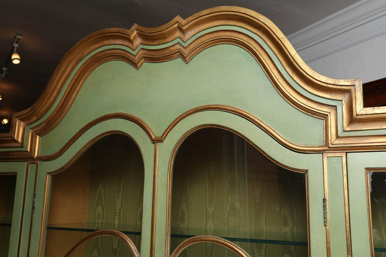 Mid-20th Century Superb 1950s Italian Baroque Style Parcel Gilt Green Painted Cabinet For Sale
