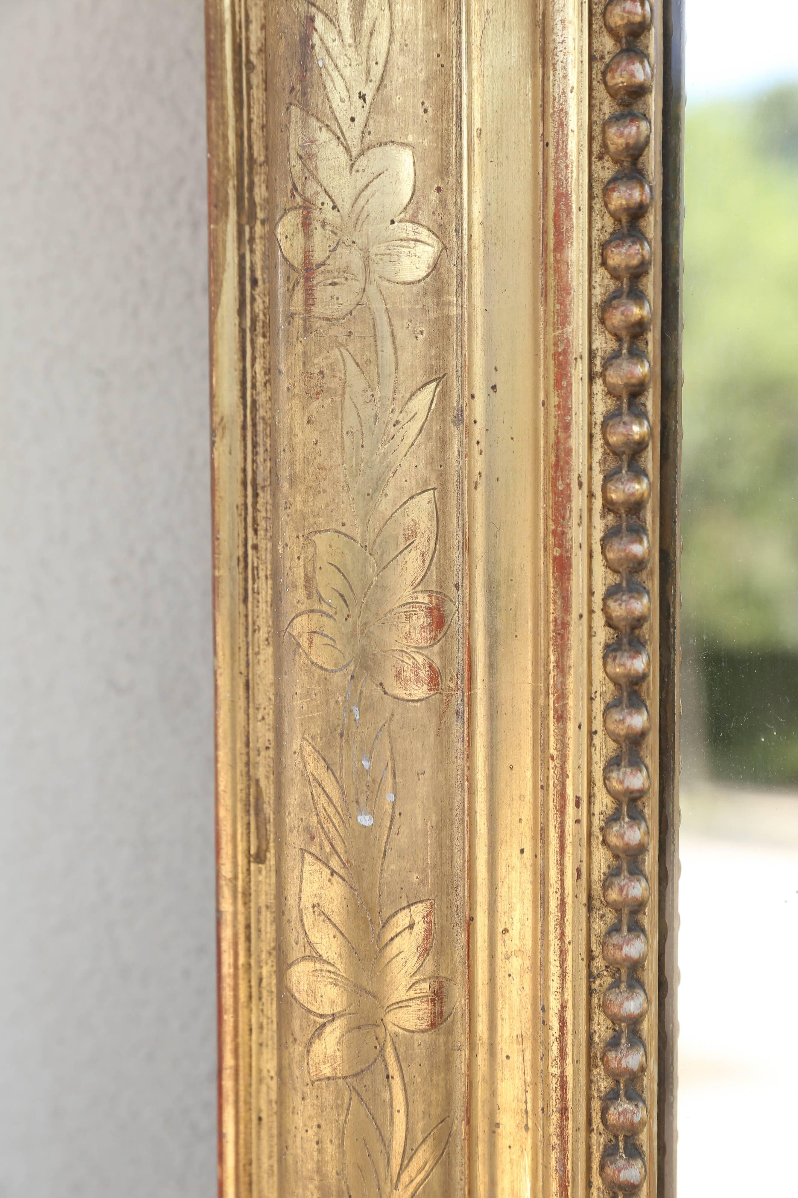 Antique French Louis Philippe Mirror with Floral and Beaded Gilt ...