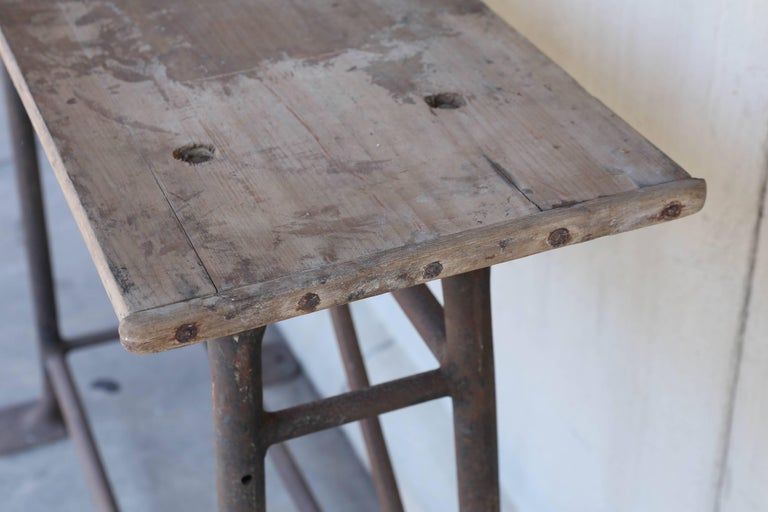 Tall Iron and Wood Industrial Console, circa 1900 Found in France In Distressed Condition For Sale In Houston, TX